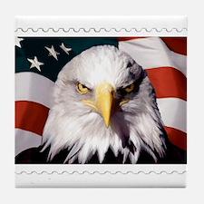 American Bald Eagle with Flag Tile Coaster
