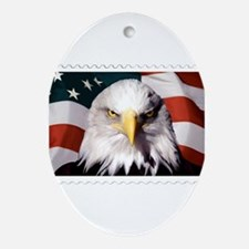 American Bald Eagle with Flag Oval Ornament