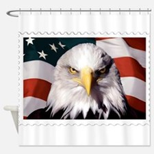 American Bald Eagle with Flag Shower Curtain