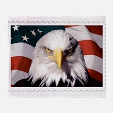 American Bald Eagle with Flag Throw Blanket