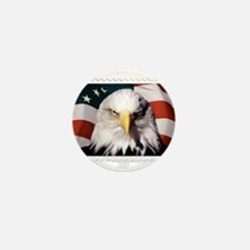 American Bald Eagle with Flag Mini Button