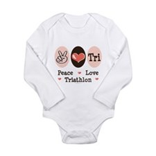 Cute Peace love swimming Long Sleeve Infant Bodysuit