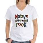 Native Americans Rock Pride Women's V-Neck T-Shirt