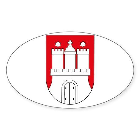 Hamburg Coat of Arms (small) Oval Sticker