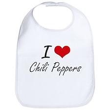 I love Chili Peppers Artistic Design Bib