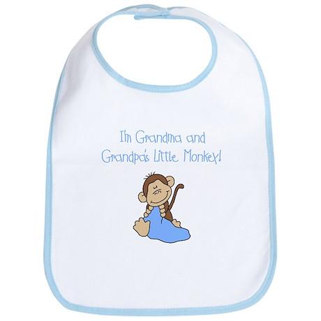 Grandma, Grandpa Monkey(blue) Bib