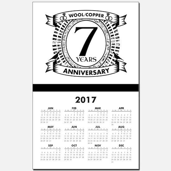 7th Traditional gift Wedding annive Calendar Print