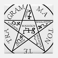 Black Pentagram of Solomon Tile Coaster