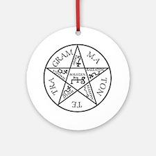 Black Pentagram of Solomon Ornament (Round)