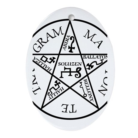 Black Pentagram of Solomon Oval Ornament