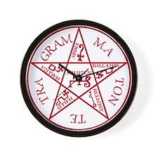 Red Pentagram of Solomon Wall Clock