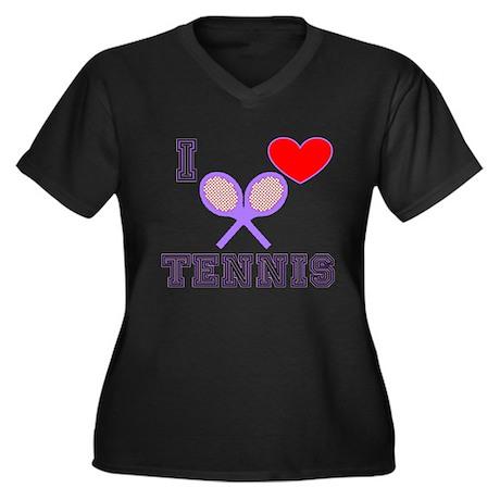 I Heart Tennis Light Blue Women's Plus Size V-Neck