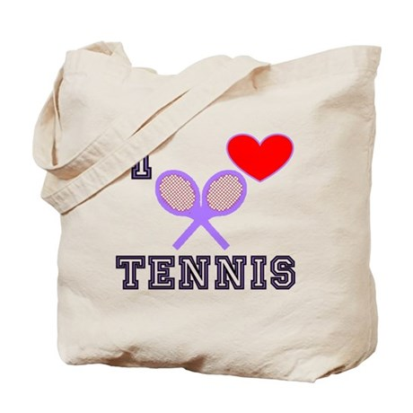 I Heart Tennis Light Blue Tote Bag