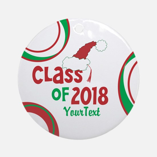 Personalized Class of 2018 Christmas Round Ornamen
