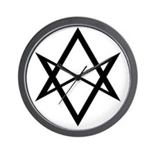 Black Unicursal Hexagram Wall Clock