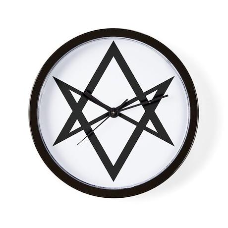 Black Unicursal Hexagram Wall Clock