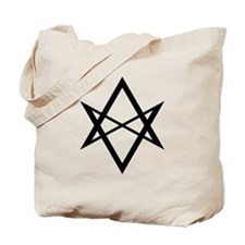 Black Unicursal Hexagram Tote Bag