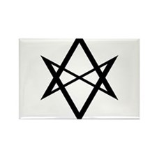 Black Unicursal Hexagram Rectangle Magnet