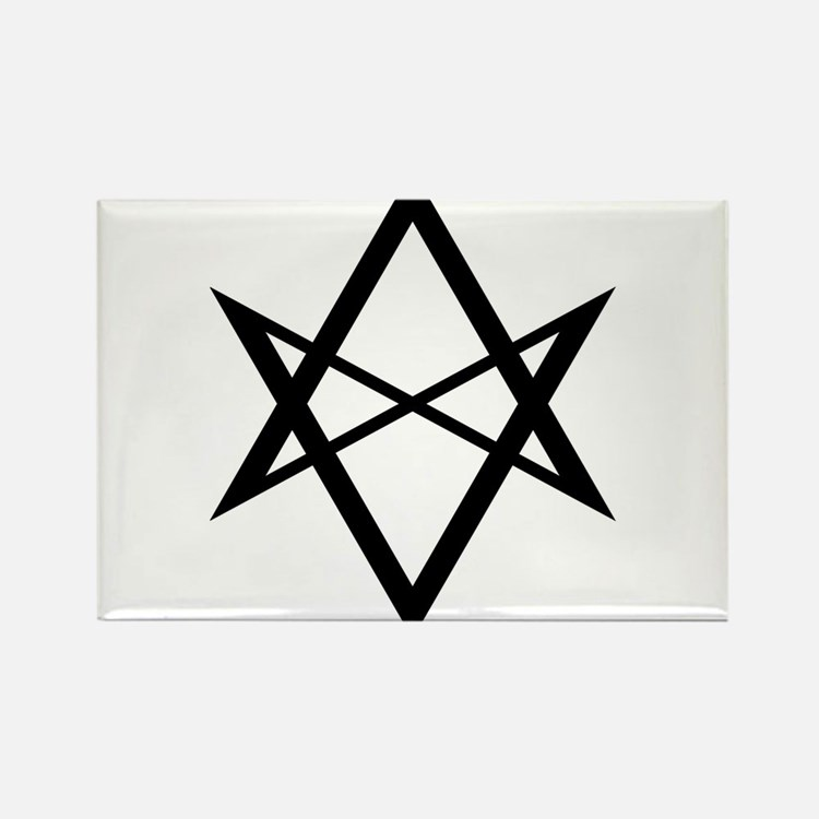Black Unicursal Hexagram Rectangle Magnet