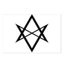 Black Unicursal Hexagram Postcards (Package of 8)