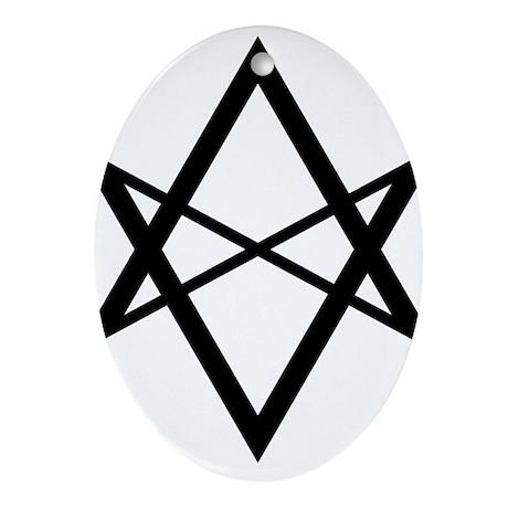 Black Unicursal Hexagram Oval Ornament