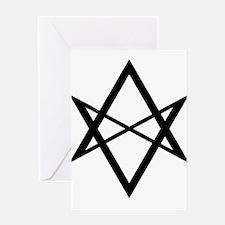 Black Unicursal Hexagram Greeting Card