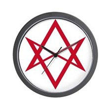 Red Unicursal Hexagram Wall Clock