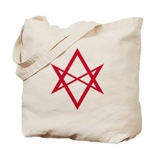 Red Unicursal Hexagram Tote Bag