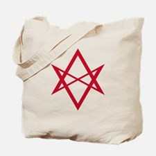 Red Unicursal Hexagram Tote Bag