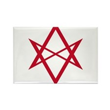 Red Unicursal Hexagram Rectangle Magnet
