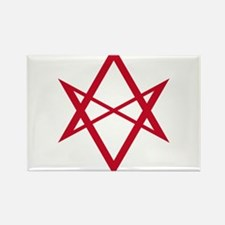 Red Unicursal Hexagram Rectangle Magnet