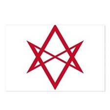 Red Unicursal Hexagram Postcards (Package of 8)