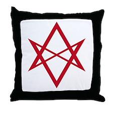 Red Unicursal Hexagram Throw Pillow