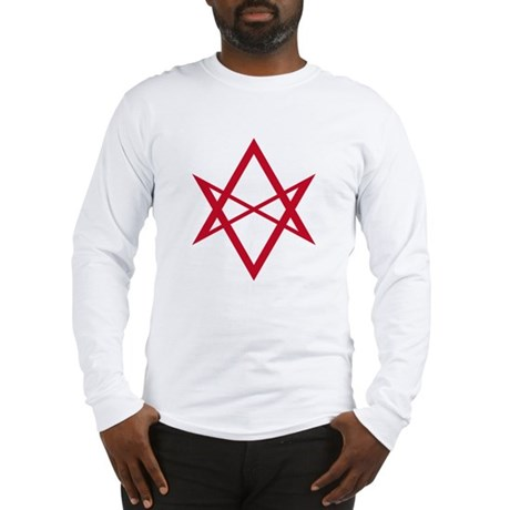 Red Unicursal Hexagram Long Sleeve T-Shirt