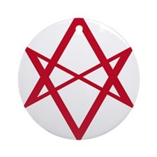 Red Unicursal Hexagram Ornament (Round)