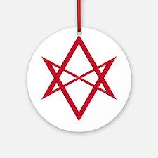 Red Unicursal Hexagram Ornament (Round)