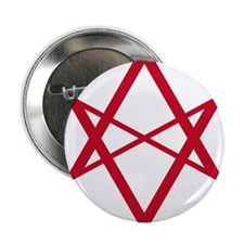 Red Unicursal Hexagram Button