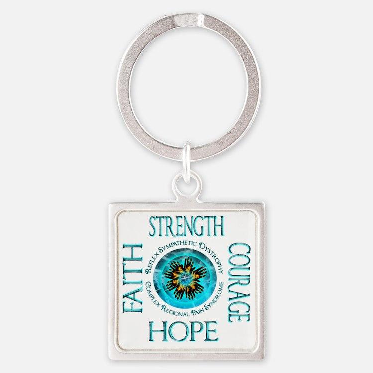 CRPS RSD Faith Courage Strength Ho Square Keychain