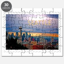 Seattle Skyline at Sunset Stamp Puzzle