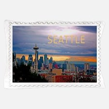 Seattle Skyline at Sunset Stamp Pillow Case