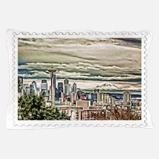 Seattle Skyline in Fog and Rain Stamp Pillow Case