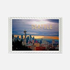 Seattle Skyline at Sunset Stamp Rectangle Magnet