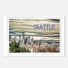 Seattle Skyline in Fog an Postcards (Package of 8)