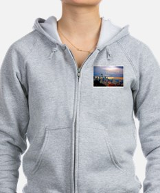 Seattle Skyline at Sunset Stamp Zip Hoodie