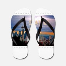 Seattle Skyline at Sunset Stamp TEXT SE Flip Flops