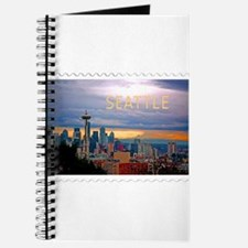 Seattle Skyline at Sunset Stamp TEXT SEATT Journal