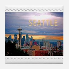 Seattle Skyline at Sunset Stamp TEXT Tile Coaster