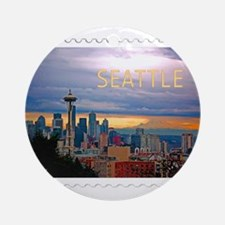 Seattle Skyline at Sunset Stamp TEX Round Ornament