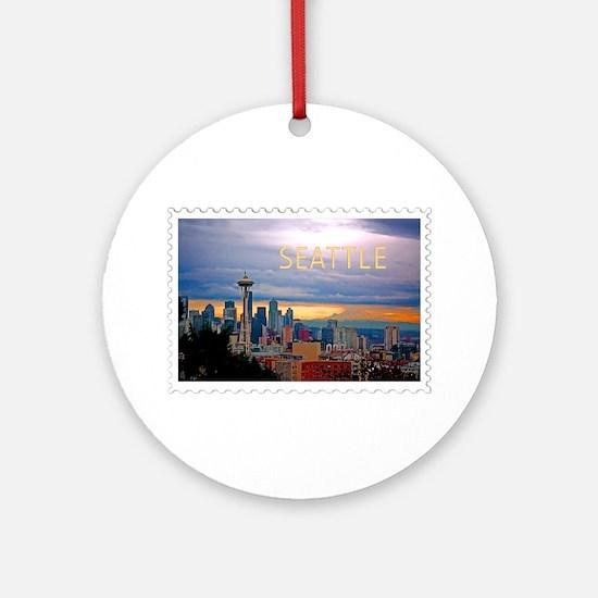 Seattle Skyline at Sunset Stamp TEX Round Ornament
