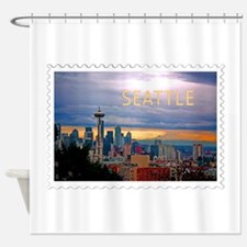 Seattle Skyline at Sunset Stamp TEX Shower Curtain